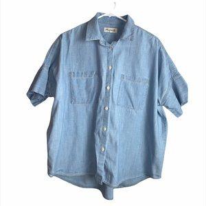 Madewell Oversized Short Sleeve Button Front Shirt